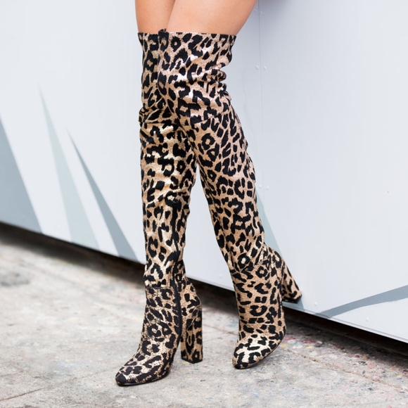 9fffb3195c288 Shoe Dazzle Shoes | Leopard Print Thigh High Boots Brand New Size 12 ...